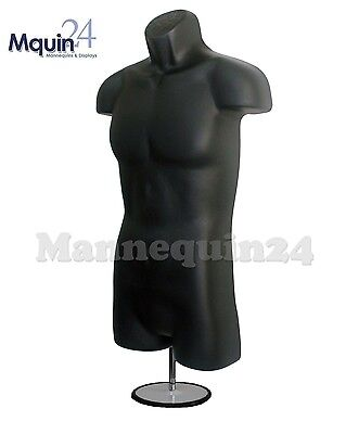 BLACK MANNEQUIN MALE TORSO with TABLE TOP STAND + HANGING HOOK- MEN's DRESS FORM