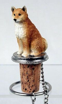 SHIBA INU Dog CORK WINE BOTTLE STOPPER resin HAND PAINTED FIGURINE puppy NEW