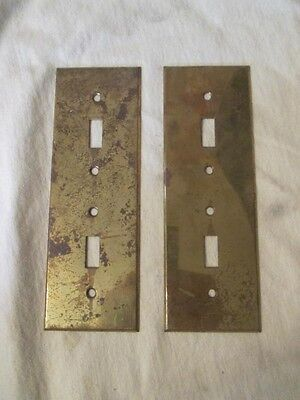 2 Vintage Brass Bryant Vertical Double Toggle Switch Cover Plates #3 ks4