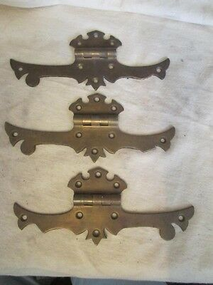 3 Antique Long Ornate Brass Door Gate Trunk Cabinet Hinges - Scalloped ks4