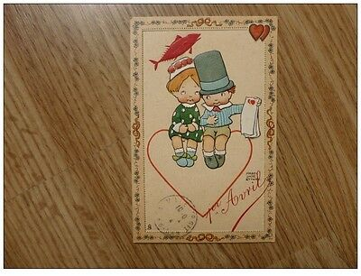 Mabel Lucie Attwell postcard -  Valentine lovers