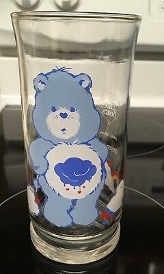 VINTAGE! 1983 Pizza Hut Care Bears Collector Glass-Grumpy Bear