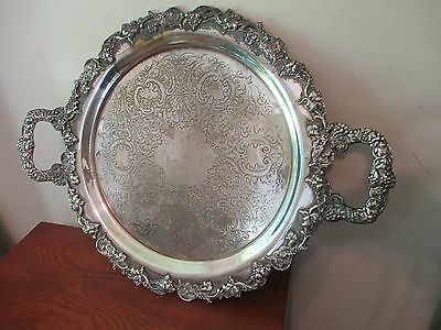 Vintage Shell Ornate Silver Plate Serving Tray with Handles