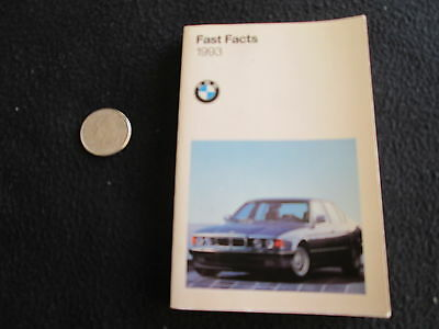 1993 BMW Dealer-only Fact Book Brochure 740i L 850Ci E34 M5 535i 525i 318is 325i