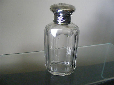 Antique Victorian Dressing Table Perfume Bottle Solid Silver Top Hallmark 1883