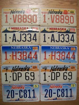 LOT of 10 NEBRASKA LICENSE PLATES 1990 / 2011 5 matched pair / 5 different types
