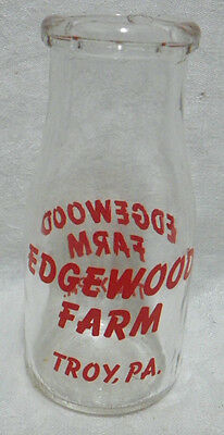 Vintage Edgewood Farm Red ACL Half Pint Milk Dairy Bottle Troy, PA.