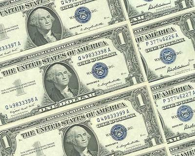 6-$1.00 1957 + 4-1957-A  Choice And Gem  Blue Seal Silver Certificates
