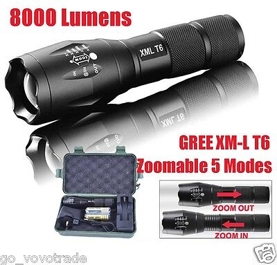 8000 Lumens G700 X800 LED Flashlight Tactical XML-T6 Zoomable Torch Lamp 18650