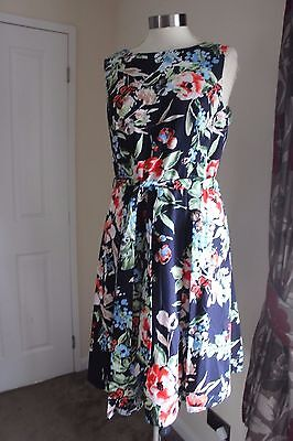 size 14 navy floral cotton prom dress from debenhams brand new