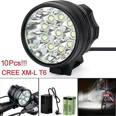 25000LM 10 x CREE XM-L T6 LED 8 x 18650 Bicycle Cycling Light Waterproof Lamp