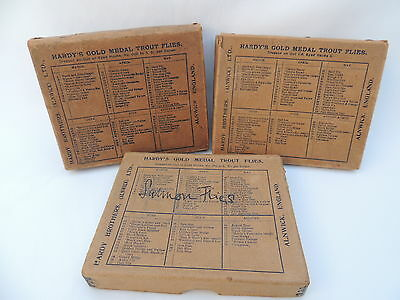 3x Vintage Hardy Trout Fly Fishing Card Boxes.