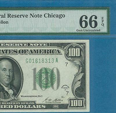 $100. 1928-A  Chicago Green Federal Reserve Note Pmg Certified Gem New 66Epq