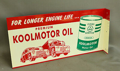 Cities Service KOOLMOTOR FLANGE SIGN With OIL CAN & TRUCK Gas  modern retro