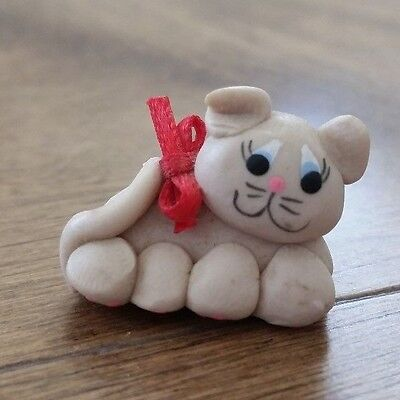 Miniature Cat Clay Figurine
