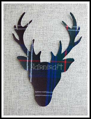 K9. Applique - Patch - Stag - Head - Brown - Tartan - Cut Out - Iron On - Sew On