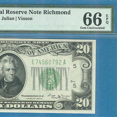 $20. 1934-B Richmond  Green Federal Reserve Note Pmg Certified Gem New 66Epq