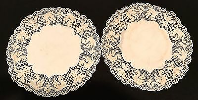 Antique Figural Lace Doilies 9 In Off White As Is