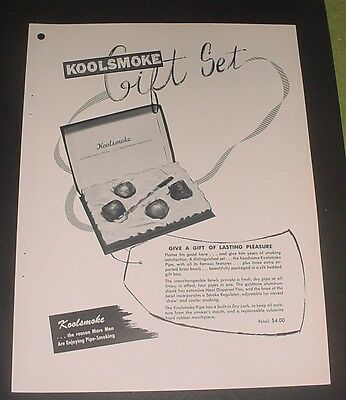 1957 Koolsmoke Pipe Gift Set Ad Brochure Imported Briar Bowls Dry Lock Feature