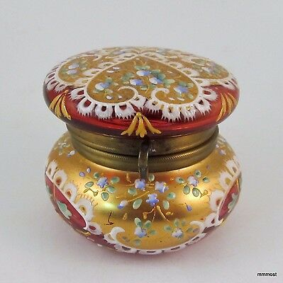 Antique Moser Bohemian Hinged Vanity Jar Cranberry Glass Heavy Enamel Gilt