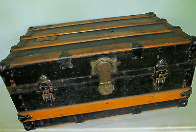 Antique Flat Top Steamer Trunk Wood Slat & Metal w/ Working Key - Local Pick-up