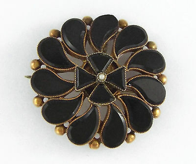* 1880s VICTORIAN 10K ROSE GOLD FRENCH JET & PEARL MOURNING PIN/BROOCH/PENDANT