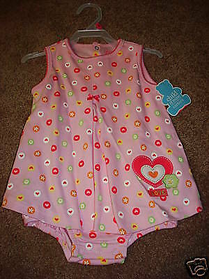 Carters Girls Romper One Piece Dress 3-6 mos NEW Hearts Flowers Pink Summer Love
