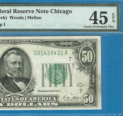 """$50. 1928-A  Chicago  Frn """"redeemable In Gold Clause"""" Note Pmg Certified Xf45Epq"""