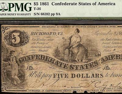 1861 $5 Confederate States Of America Civil War Currency Paper Money T-36 Pmg 25