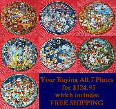 (7) Different Pepsi Cola Porcelain Advertising Plates Limited Edition Bill Bell