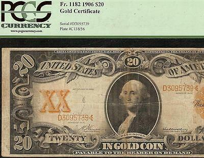1906 $20 DOLLAR BILL LARGE GOLD CERTIFICATE COIN NOTE BIG CURRENCY Fr 1182 PCGS