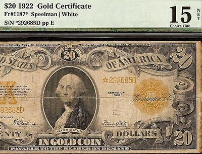 STAR 1922 $20 DOLLAR BILL GOLD CERTIFICATE COIN NOTE LARGE CURRENCY Fr 1187* PMG