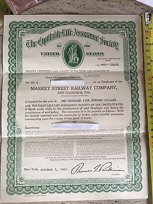 1929 Market Street Railway Co Life Insurance Certificate
