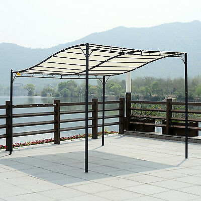 Outsunny 3m x 3m Wall Mounted Awning Free Stand Canopy Sun Shade Garden Porch