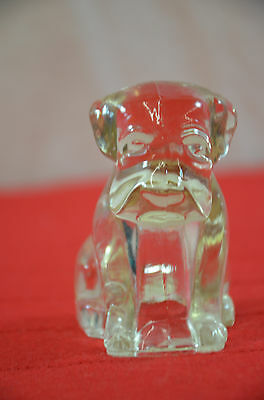 """sitting dog puppy 3"""" tall Vintage glass candy container figure 1345"""