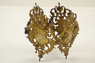 Antique Victorian Embossed Brass Candle Holder Cornucopia Hand Painted Shield