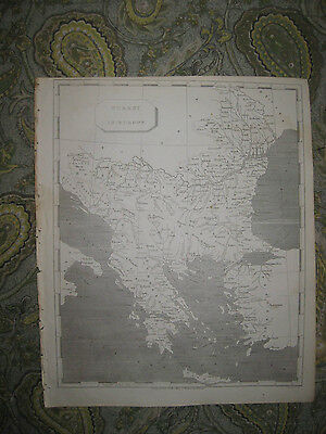 Superb Antique 1805 Turkey In Europe Greece Albania Bulgaria Copperplate Map Nr