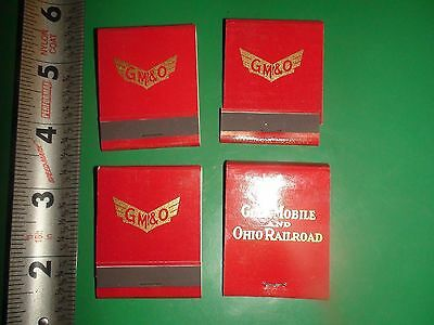 JD605 Vintage LOT of 4 Unused Matchbooks Ad GM&O Gulf Mobile and Ohio Railroad