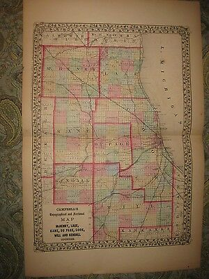 Antique 1870 Cook Mchenry Lake Dupage Will Kendall County Illinois Map Chicago