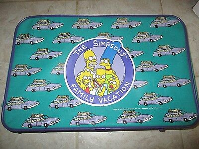 Vintage 1990 The Simpsons Family Vacation Teal Suitcase Purple Station Wagon