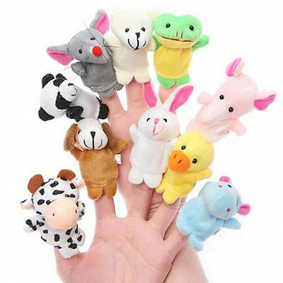 10pcs Velvet farm zoo Animals Finger Puppets Plush Toy Set kid Bed story teller
