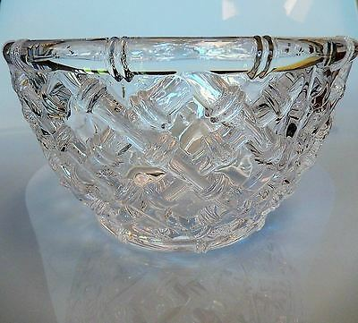 "Tiffany & Co. BAMBOO Crystal Glass Bowl 9"" Wide"