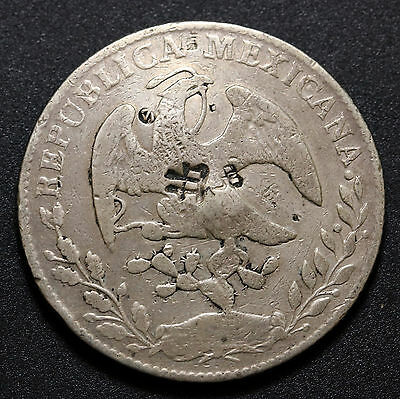 1861 / 51 Go. PF Mexico 8 Reales Silver Coin Chopmarked Chinese Characters  Rare