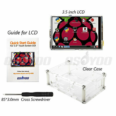 "AU 3.5"" LCD Touch Screen Display Module w/ Case for Raspberry Pi 2 Pi 3 Model B+"