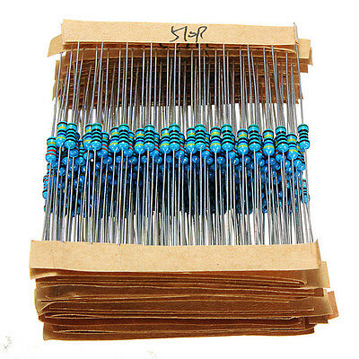 640 Pcs 64 Kinds 1R - 10MR 1/4w 1% Metal Film Resistors Kit  Assortment Pack Mix
