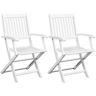 Solid Outdoor Acacia Wood Folding Dining Chairs 2 Piece White Garden Patio