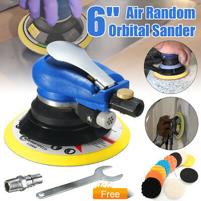 "6"" 150mm Air Random Orbital Palm Sander Auto Body Orbit Low Vibration + Wrench"