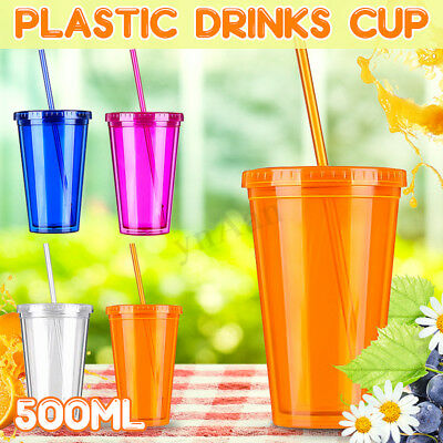 Smoothie Plastic Drink Cup Iced Coffee Juice With Straw Liquid Beaker Lid Party