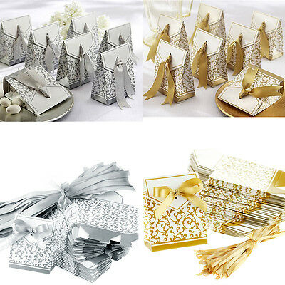 5-100pcs Wedding Favour Favor Sweet Cake Gift Candy Boxes Bags Anniversary Party