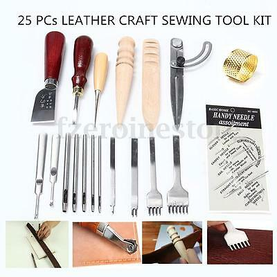 25 PCs Leather Craft Sewing Tool Kit Set Punch Cutter Groover Beveler Stitching